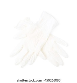 Pair of two medical white rubber gloves, composition isolated over the white background