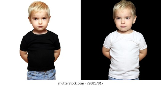Pair of two portraits of serious blond toddler boy in white and black t-shirts without any logo over black and white backgrounds, hands behind the back, isolated, contrast color concept