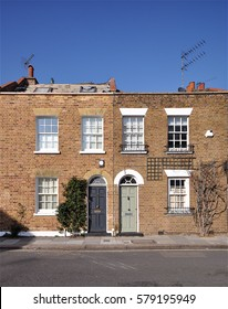 A pair of typical small 18th century, terraced town houses at St Dionis Roadin the Fulham district of west London, UK.