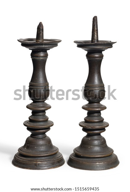 wood turning candle holders Pair Unusual Wooden Turned Original Candle Stock Photo Edit