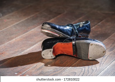 Pair of used dancers tap shoes.