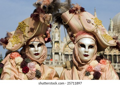 pair from venice carnival in mask