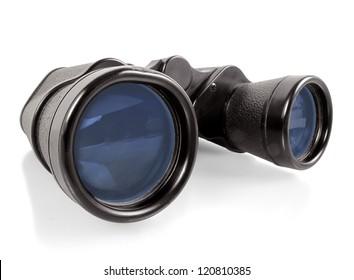 Pair of vintage black binoculars on a white background