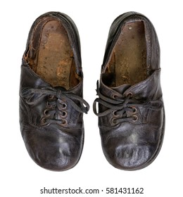 Pair of Vintage Handmade Children's Shoes on White