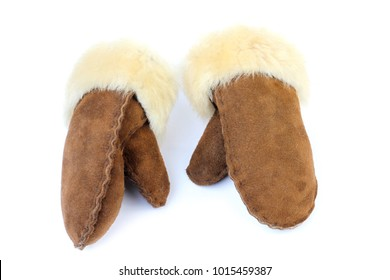 A pair of vintage Inuit Eskimo Leather and Wool Mittens