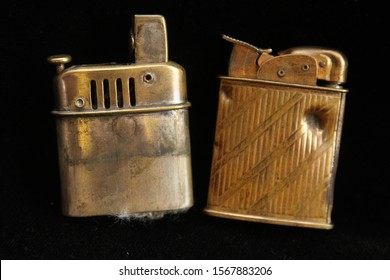 Pair of Vintage Lighters - One with Bullet Wound Hole Hit