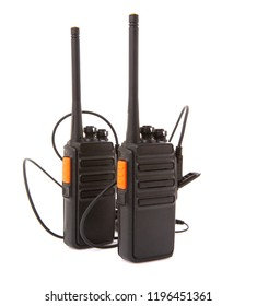 Pair of Walkie Talkie 2 way radios with headsets on a white background