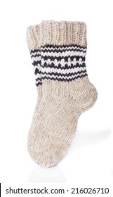 Pair of Warm Winter Socks, Isolated on White