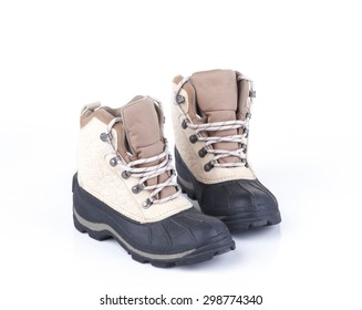 pair of weather proof snow boots on white background