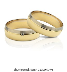 A pair of wedding rings, isolated on white background