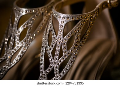 Pair of wedding shoes. Beautiful shoes from bride