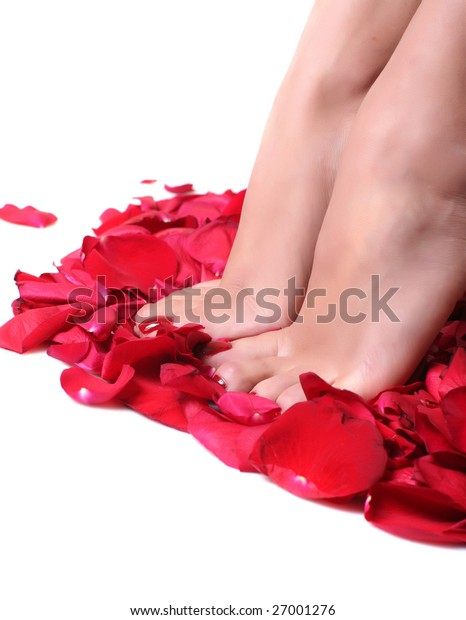 Pair of well-groomed feet against from petals of red roses, isolated on a white background, please look other photos of this series: