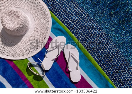 95afcf1c1763 Pair White Flip Flops By Pool Stock Photo (Edit Now) 133536422 ...