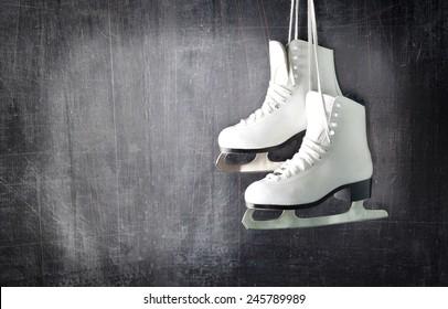 Pair of White Ice Skates.