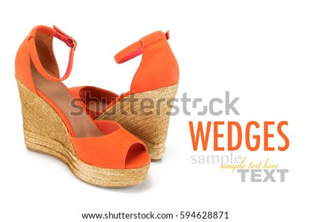 4d68cfda9f6 Pair of women s summer wedges isolated on a white background with sample  text. Bright trendy