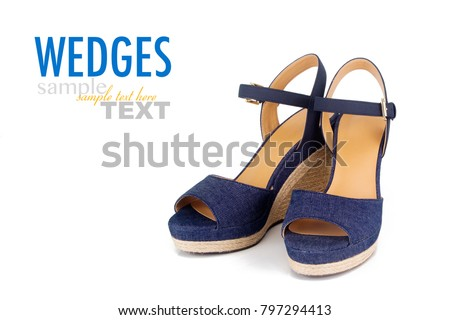 99996c21e5d Pair of women s summer wedges isolated on a white background with sample  text. Trendy platform