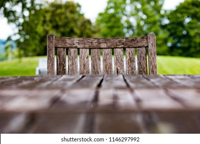 A pair of wood chair and table in Lakeshore Park in Knoxville Tennessee