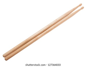 A pair of wooden drumsticks isolated on a white background