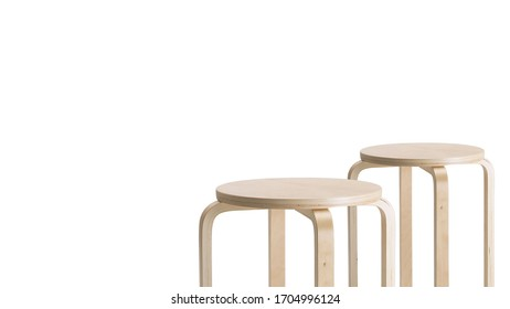 Pair of wooden oak stools on white background