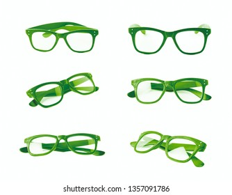 Pair of wooden textured optical reading glasses isolated over the white background, set of six different foreshortenings