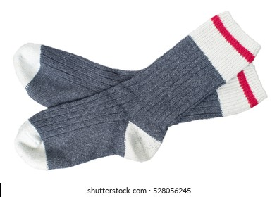 Pair of wool socks isolated on white background