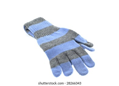 pair of wool striped gloves on a white background