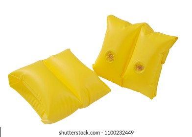 A pair of yellow inflatable water armbands isolated on white