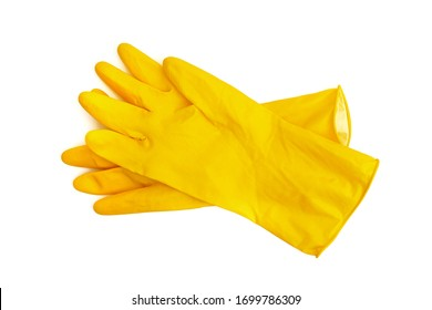 a pair of yellow latex protective gloves isolated on white background