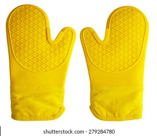 Pair of yellow oven gloves on an isolated white background with a clipping path