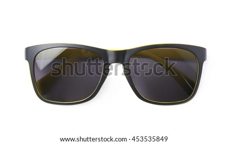 d86809c4ff1 Pair Yellow Plastic Sunglasses Dark Shades Stock Photo (Edit Now ...