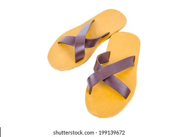 Pair of yellow sandal isolated on white background