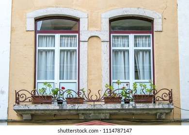 Paired arched windows with a balcony housing flower pots. European architecture.