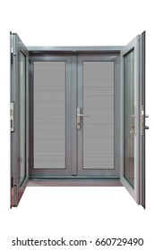 paired hinged door with stainless steel mesh screen