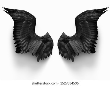 pairs of black devil wings isolate with clipping path on white background