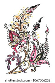 Paisley. Hand Drawn ornament. Watercolor Hand painted  illustration.