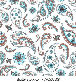 Paisley oriental floral abstract vintage seamless texture. Watercolor hand drawn blue teal turquoise brown texture on white background. Print for wallpaper, wrapping, textile, fabric