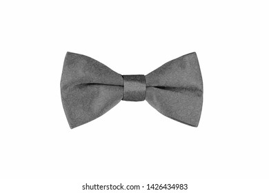 Paisley pattern fashionable grey bow tie isolated on white background