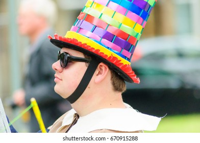 PAISLEY, SCOTLAND - JULY 1, 2017: One of the participants celebrating Sma Shot Day in the parade travelling through the streets of Paisley from Brodie Park to Abbey Close