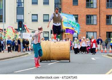 PAISLEY, SCOTLAND - JULY 1, 2017: A group of participants celebrating Sma Shot Day in the parade travelling through the streets of Paisley from Brodie Park to Abbey Close