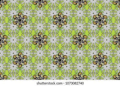 Paisleys elegant floral raster seamless pattern background wallpaper illustration with vintage stylish beautiful modern 3d line art gold and white, green and black paisley flowers leaves and ornaments