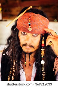 Pai,Thailand - June 13,2013:A Johnny Depp imitator dressed as Captain Jack Sparrow from the movie Pirates of the Caribbean,Pai,Chiang Mai,Thailand.