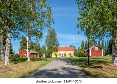 PAJALA, SWEDEN - AUGUST 8, 2018: The manse in Pajala in northern Sweden. The red building to the right was built for legendary priest lars Levi Laestadius.