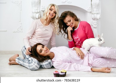 0e7443500a Pajama Party. Female Models In Night Clothing Having Fun. Beautiful Happy  Young Women In