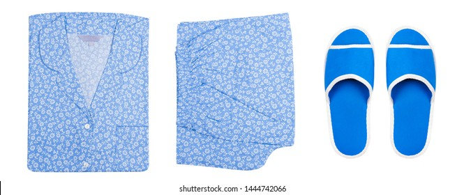 Pajamas Shoes. Top view. Flower Sleepwear and Blue Slippers Isolated on White Background with Clipping Path. Woman is Warm Pants and Shirt with Sandals for Comfort Rest at Night. Night Suit for Sleep.