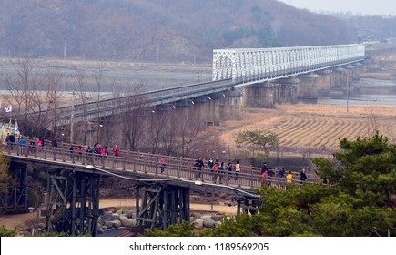 PAJU SOUTH KOREA APRIL 5: The Freedom bridge does actually cross the Imjin river, it is a former railroad bridge which was used by POWs/soldiers returning from the north.on april 5 2013 in South Korea