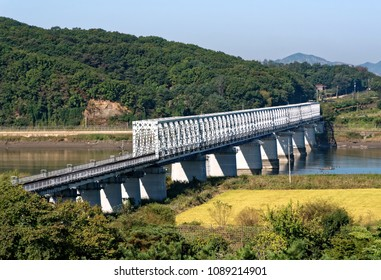 PAJU, SOUTH KOREA- SEPTEMBER 28, 2017: New bridge crossing a river in direction of the North Korea and South Korea DMZ in the Summer