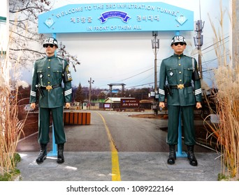 PAJU, SOUTH KOREA- SEPTEMBER 28, 2017:The third Infiltration Tunnel of four tunnels built by North Korea was discovered in October 1978 following the detection of an underground explosion