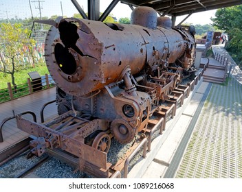 PAJU, SOUTH KOREA-SEPTEMBER 28, 2017:  Bullet hole steam locomotive suspended during the Korean War at Imjingak is the symbol of the division of North Korea and South Korea.