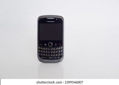 Pak Kret, Nonthaburi, Thailand - May 12, 2019 - old blackberry phones with white background.