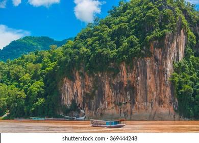 Pak Ou buddhist caves,Tam-ting,Mekong River,boat,landscape,Luang Prabang,Laos